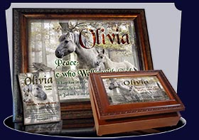 PC-AN45, Name Meaning Card, Wallet Sized, with Bible Verse mom mother child horses white olivia