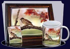 PC-AN63, Name Meaning Card, Wallet Sized, with Bible Verse Jenna bird birds sparrow