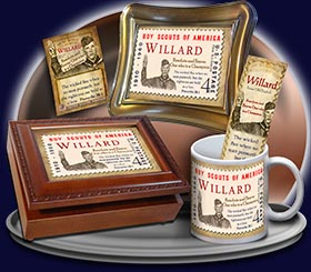 PC-CA02, Name Meaning Card, Wallet Sized, with Bible Verse willard  boy scouts stamp collecting