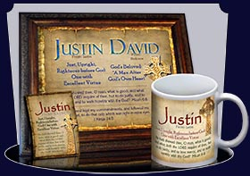 PC-CE01, Name Meaning Card, Wallet Sized, with Bible Verse, personalized, celtic knotwork irish gaelic justin cross