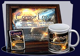 PC-CR01, Name Meaning Card, Wallet Sized, with Bible Verse, personalized, space asteroid connor