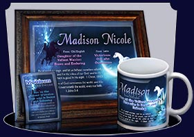 PC-CR09, Name Meaning Card, Wallet Sized, with Bible Verse, personalized, madison white horse moon