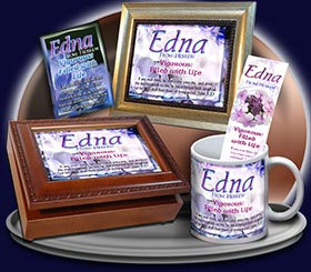 PC-FL16, Name Meaning Card, Wallet Sized, with Bible Verse, personalized, flower, purple flower violet edna