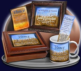 PC-GR01, Name Meaning Card, Wallet Sized, with Bible Verse, personalized, Vance grain field harvest