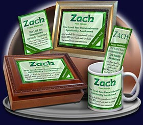 PC-LE04, Name Meaning Card, Wallet Sized, with Bible Verse, personalized, zach leaf tree leaves green