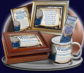 PC-MU02, Name Meaning Card, Wallet Sized, with Bible Verse, personalized, music notes William drums