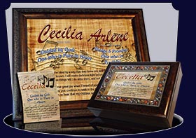 PC-MU11, Name Meaning Card, Wallet Sized, with Bible Verse, personalized, music notes cecelia