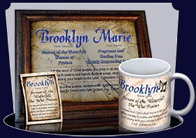 PC-MU12, Name Meaning Card, Wallet Sized, with Bible Verse, personalized, music notes brooklyn