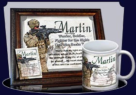 PC-PP22, Name Meaning Card, Wallet Sized, with Bible Verse, personalized, bravery soldier army navy war martin