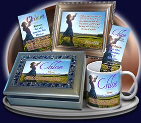PC-PP27, Name Meaning Card, Wallet Sized, with Bible Verse, personalized, child worship praise Chloe dance music