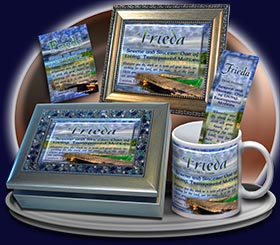 PC-SC06, Name Meaning Card, Wallet Sized, with Bible Verse, personalized,dock lake peace frieda