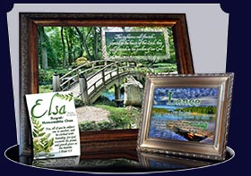 PC-SC08, Name Meaning Card, Wallet Sized, with Bible Verse, personalized, garden bridge Elsa