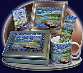 PC-SC10, Name Meaning Card, Wallet Sized, with Bible Verse, personalized, lance dock lake peace