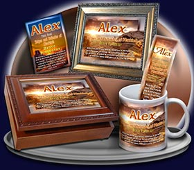 PC-SC21, Name Meaning Card, Wallet Sized, with Bible Verse, personalized, western alex, sunset