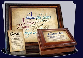 PC-SM03, Name Meaning Card, Wallet Sized, with Bible Verse, personalized, simple parchment Gerald