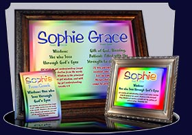 PC-SM12, Name Meaning Card, Wallet Sized, with Bible Verse, personalized, baby name, rainbow, sophie simple, basic