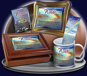 PC-SM15, Name Meaning Card, Wallet Sized, with Bible Verse, personalized, baby name, rainbow, wade