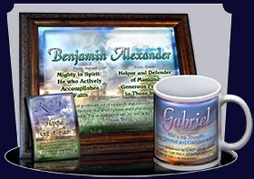 PC-SS09, Name Meaning Card, Wallet Sized, with Bible Verse, personalized, gabriel sunset