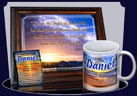 PC-SS14, Name Meaning Card, Wallet Sized, with Bible Verse, personalized, daniel, sunset, beach, ocean, sand
