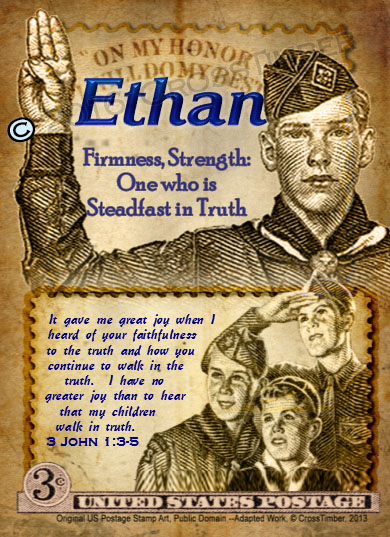 PC-CA03, Name Meaning Card, Wallet Sized, with Bible Verse ethan boy scouts stamp collecting