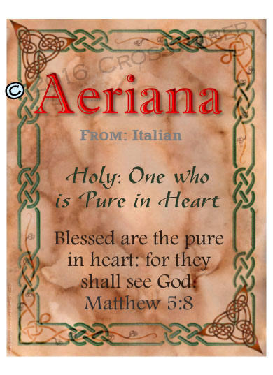 PC-CE07, Name Meaning Card, Wallet Sized, with Bible Verse, personalized, celtic knotwork irish gaelic aeriana italian marble