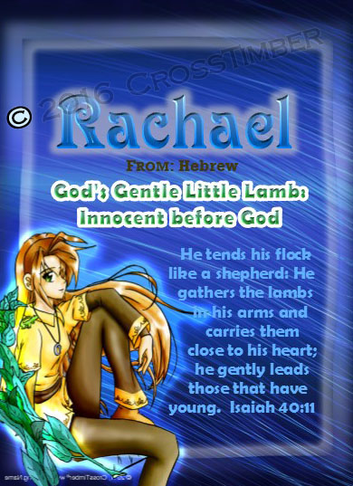 PC-CH44, Name Meaning Card, Wallet Sized, with Bible Verse, personalized, anime character rachael