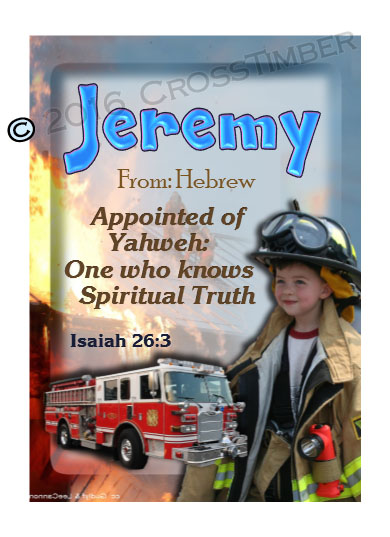 PC-PP24, Name Meaning Card, Wallet Sized, with Bible Verse, personalized, bravery courage fireman firefighter fire child jeremy