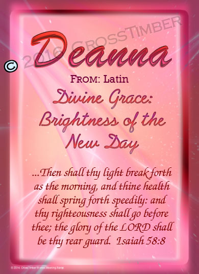PC-SM07, Name Meaning Card, Wallet Sized, with Bible Verse, personalized, baby name purple pink Deanna simple basic