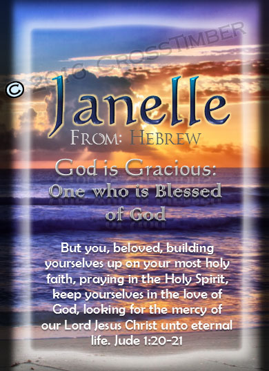 PC-SS22, Name Meaning Card, Wallet Sized, with Bible Verse, personalized, janelle sunset