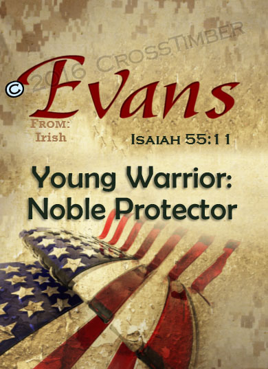 PC-SY57, Name Meaning Card, Wallet Sized, with Bible Verse, personalized, evans flag military soldier camo digi USA American