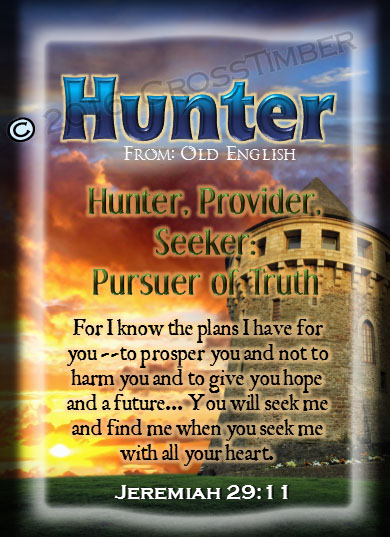 PC-SY62, Name Meaning Card, Wallet Sized, with Bible Verse, personalized, hunter sword castle