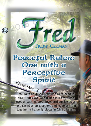 PC-WA13, Name Meaning Card, Wallet Sized, with Bible Verse, personalized, forest stream river light fred fishing