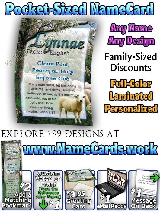 PC-AN01, Name Meaning Card, Wallet Sized, with Bible Verse sheep flock lambs shepherd lynnae