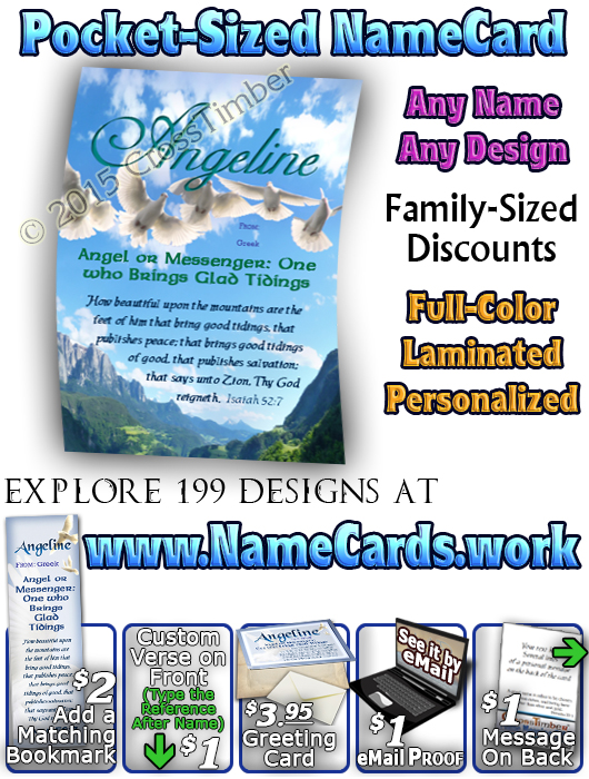PC-AN15, Name Meaning Card, Wallet Sized, with Bible Verse angelene dove peace angels