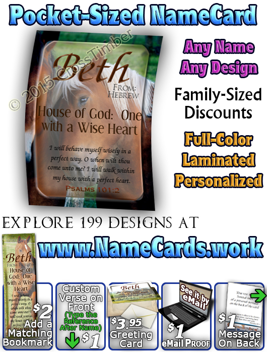 PC-AN31, Name Meaning Card, Wallet Sized, with Bible Verse Beth horses