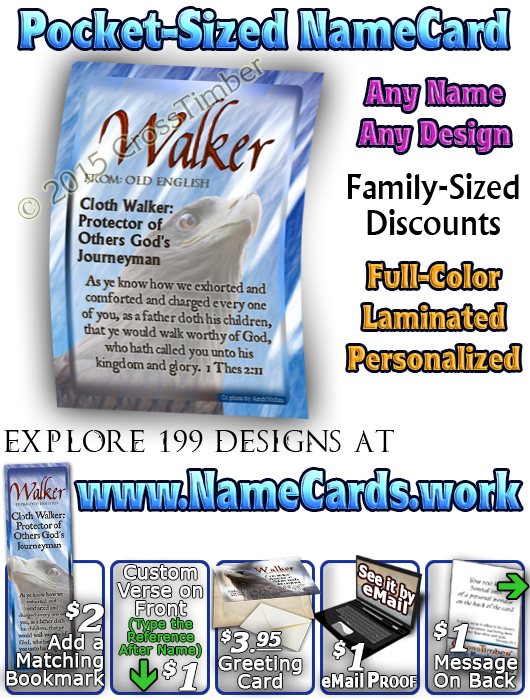 PC-AN47, Name Meaning Card, Wallet Sized, with Bible Verse eagle hawk bird walker