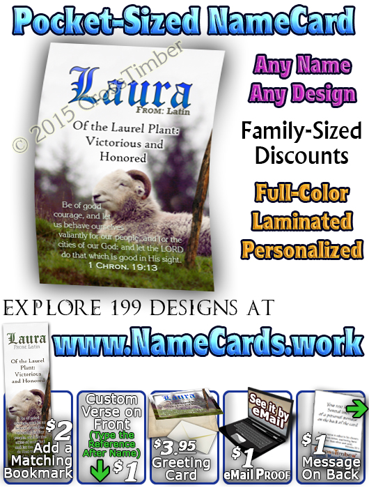 PC-AN62, Name Meaning Card, Wallet Sized, with Bible Verse sheep ram shepherd flock lamb staff Laura