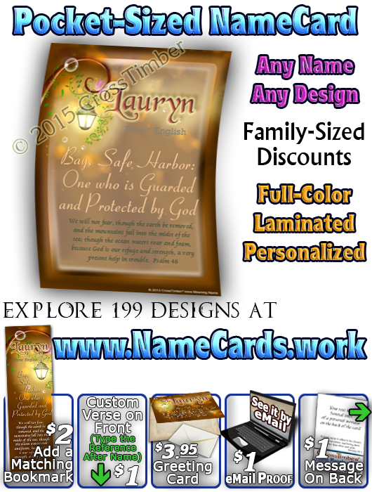 PC-BF17, Name Meaning Card, Wallet Sized, with Bible Verse fairy fairytale storybook lamp light butterfly lauryn