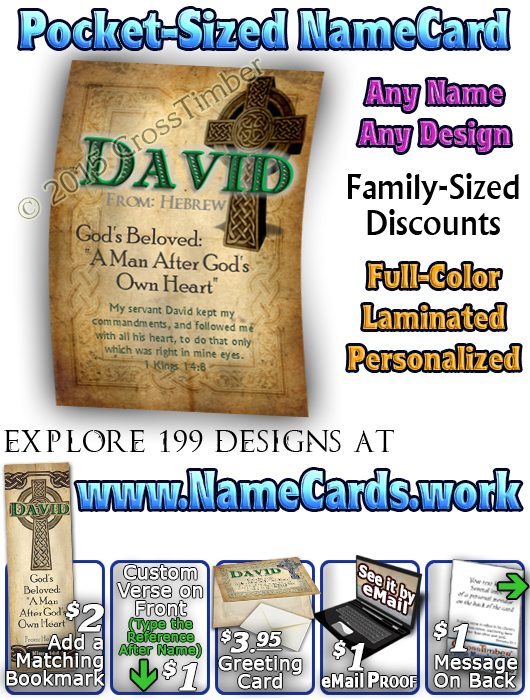 PC-CE02, Name Meaning Card, Wallet Sized, with Bible Verse, personalized, celtic knotwork irish gaelic cross david