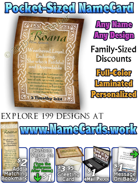 PC-CE03, Name Meaning Card, Wallet Sized, with Bible Verse, personalized, celtic knotwork irish gaelic, roana