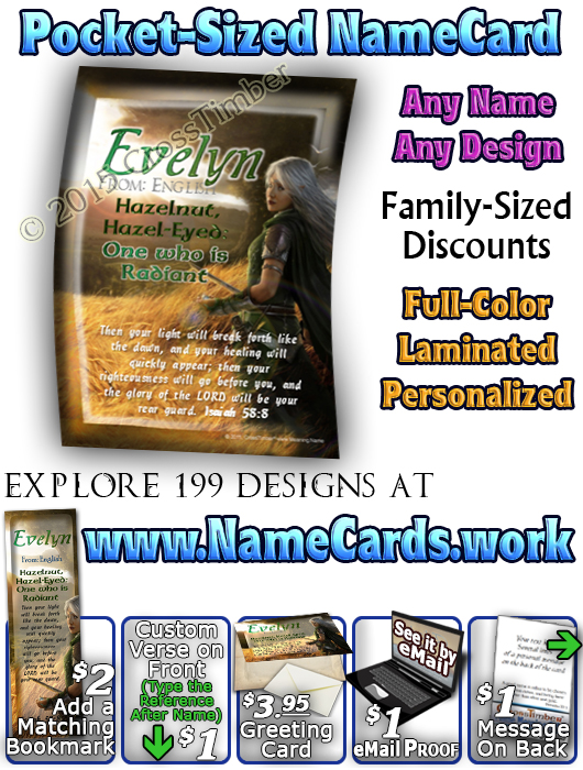 PC-CR06, Name Meaning Card, Wallet Sized, with Bible Verse, personalized, evelyn elf fantasy elven