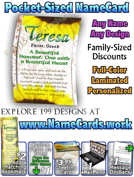 PC-FL01, Name Meaning Card, Wallet Sized, with Bible Verse, personalized, teresa sunflower flower