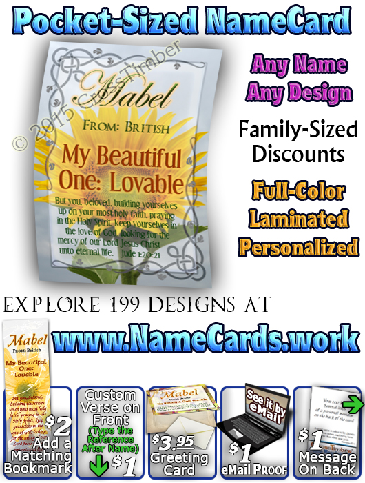 PC-FL20, Name Meaning Card, Wallet Sized, with Bible Verse, personalized, floral flower,  mabel
