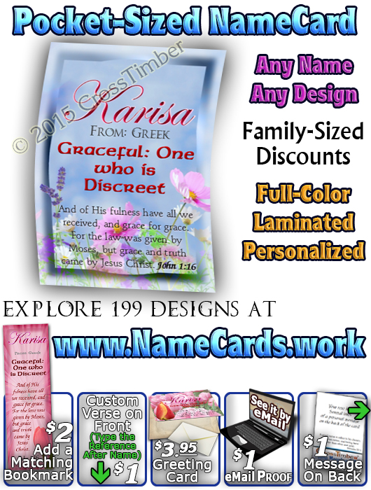PC-FL25, Name Meaning Card, Wallet Sized, with Bible Verse, personalized, floral flower, karisa pink tulips