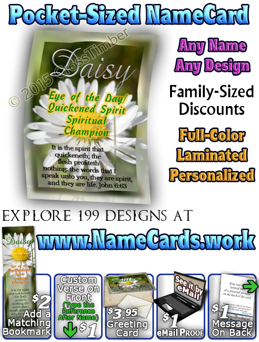 PC-FL36, Name Meaning Card, Wallet Sized, with Bible Verse, personalized, floral flower, daisy white