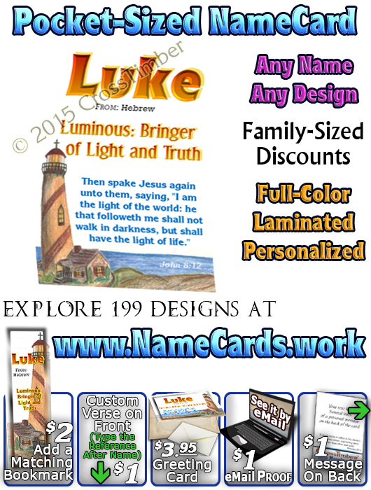 PC-LH08, Name Meaning Card, Wallet Sized, with   Bible Verse
