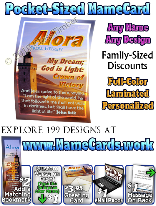 PC-LH15, Name Meaning Card, Wallet Sized, with   Bible Verse