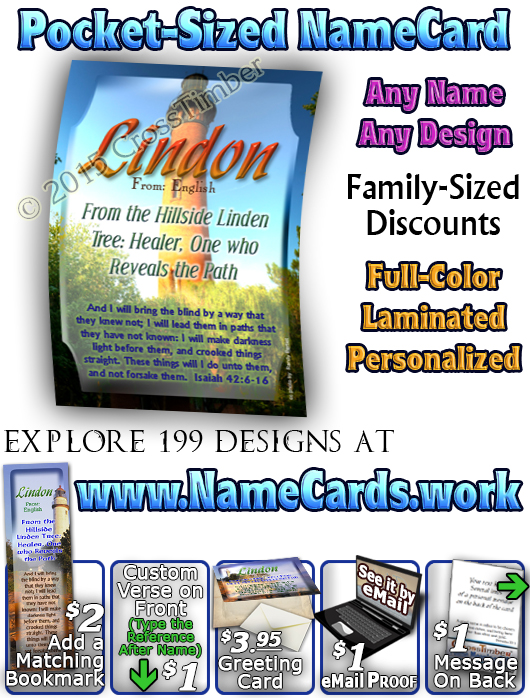 PC-LH38, Name Meaning Card, Wallet Sized, with Bible Verse, personalized, lighthouse light Lindon