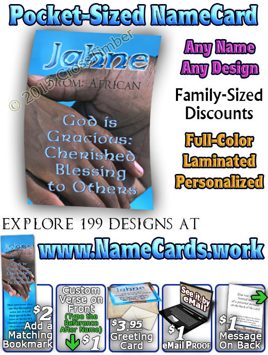 PC-PP05, Name Meaning Card, Wallet Sized, with Bible Verse, personalized, black hands love