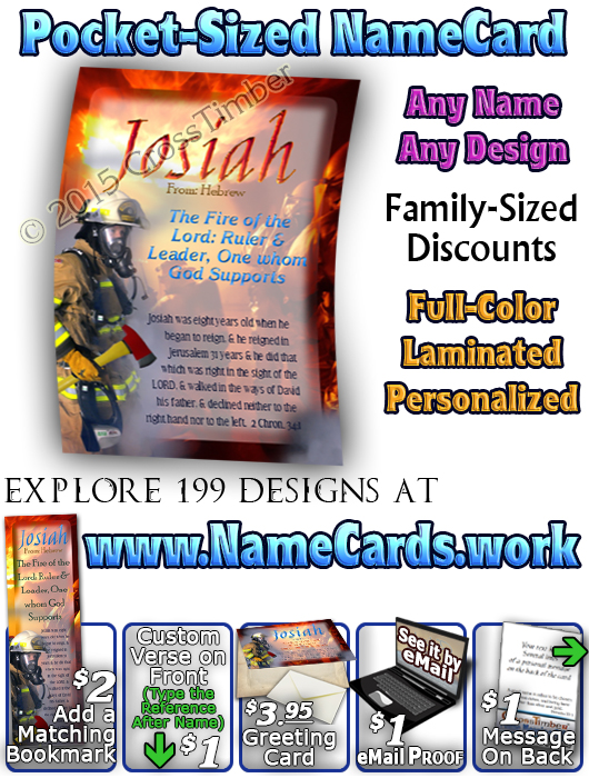 PC-PP23, Name Meaning Card, Wallet Sized, with Bible Verse, personalized, bravery courage fireman firefighter fire josiah